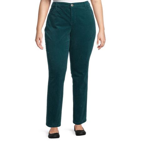 St. John's Bay Womens Mid Rise Straight Corduroy Pant - Plus, 16w , Green
