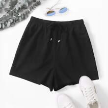 Shorts de pierna ancha de cintura con cordon