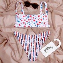 Bikini Badeanzug mit Stern & Streifen Muster und hohem Ausschnitt