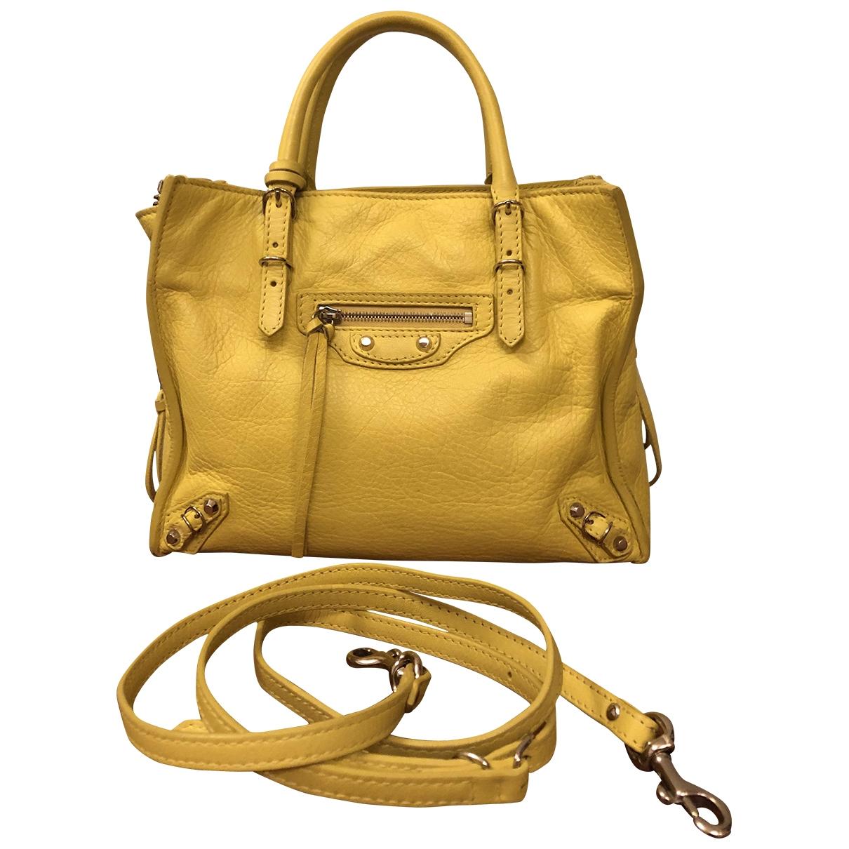 Balenciaga - Sac a main Papier pour femme en cuir - jaune