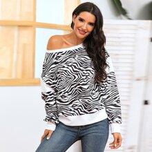 Drop Shoulder Zebra Stripe Sweatshirt
