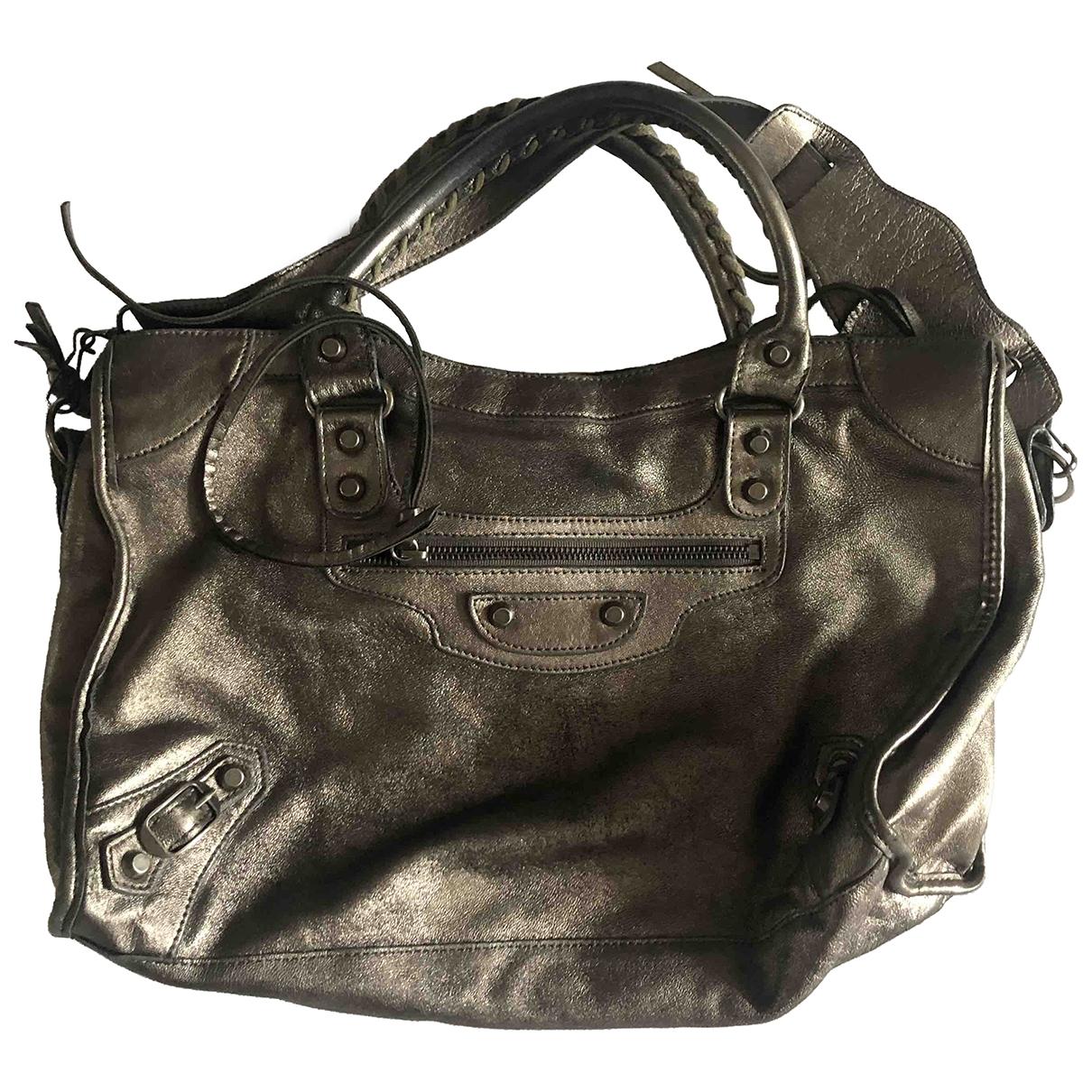 Balenciaga City Silver Leather handbag for Women \N