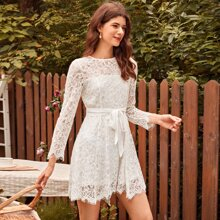 Self Belted Lace Dress