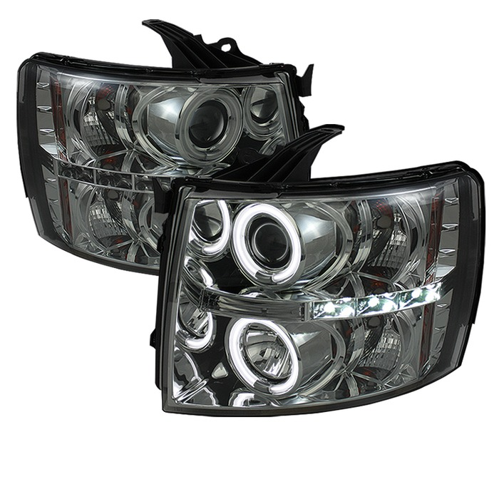 Spyder Auto PRO-YD-CS07-CCFL-SM Smoke CCFL Halo LED Projector Headlights with High H1 and Low H1 Lights Included Chevrolet Silverado 1500 07-13