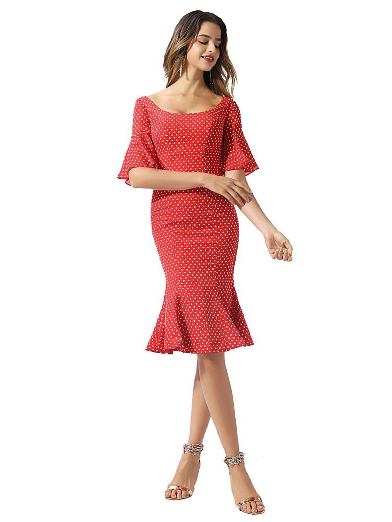 Ericdress Scoop Ruffles Mermaid Knee-Length Cocktail Dress 2020