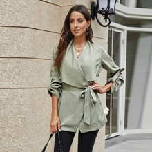 Solid Belted Roll Up Sleeve Coat