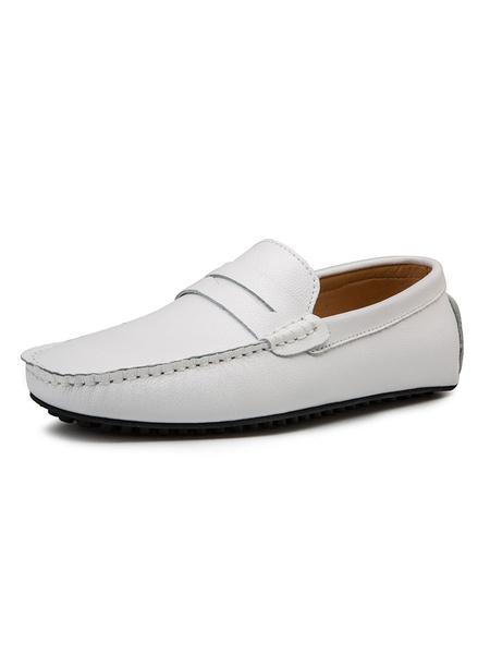 Milanoo Los hombres blancos de los holgazanes de cuero de vaca punta redonda Ponte en los zapatos de conduccion
