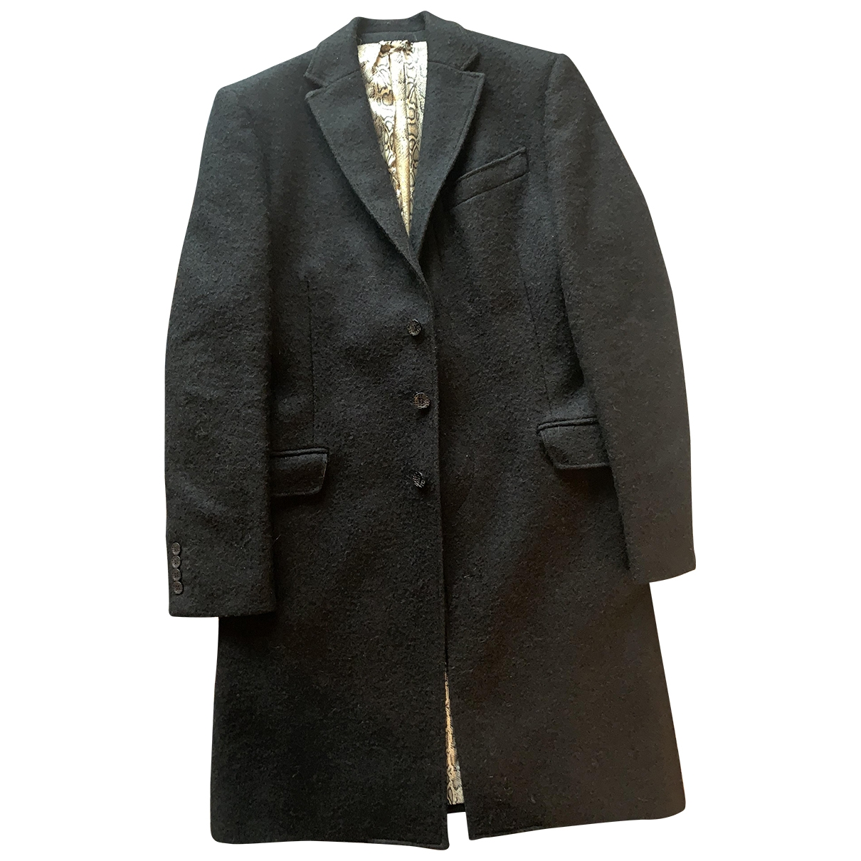 Just Cavalli \N Black Wool coat  for Men 46 IT