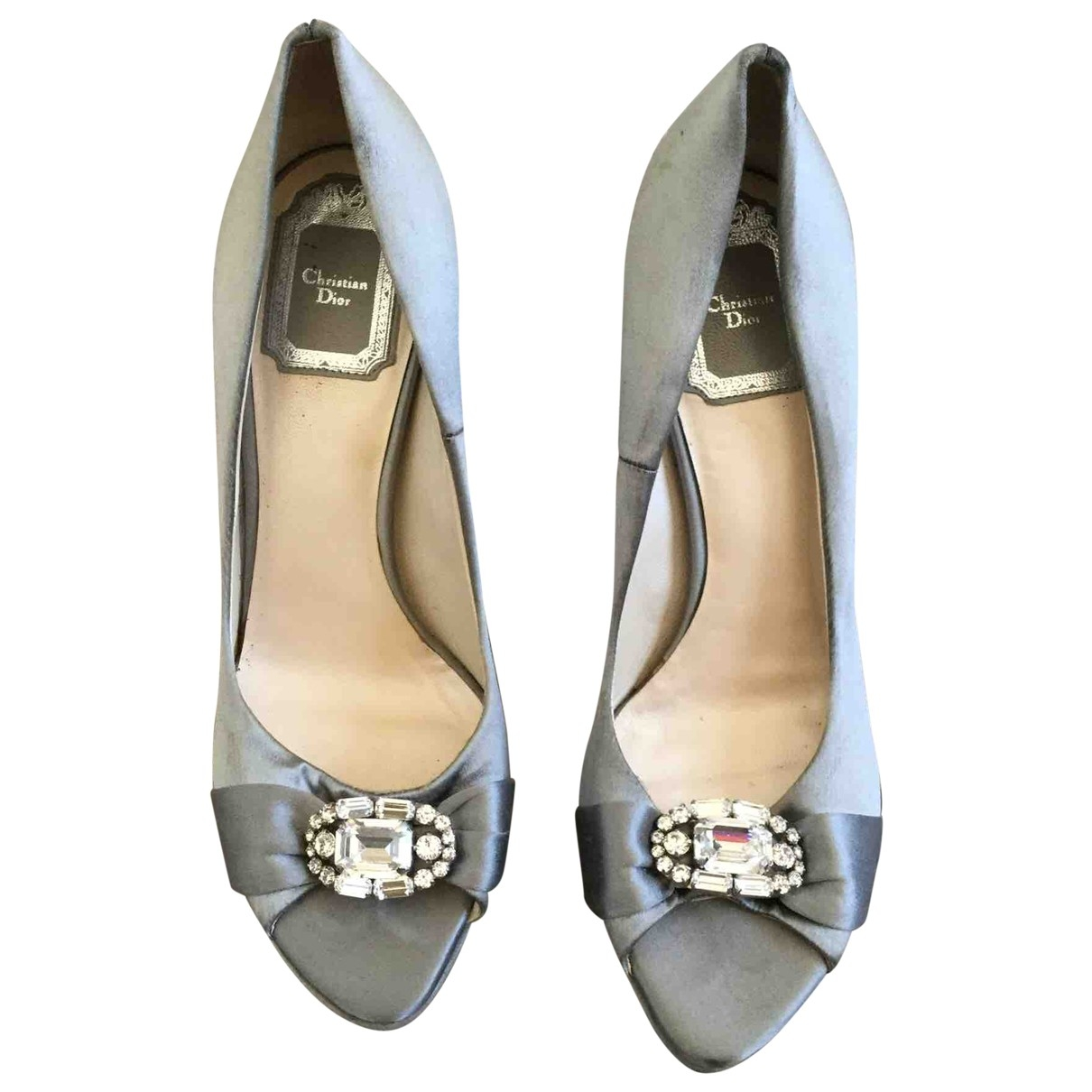 Dior \N Grey Leather Heels for Women 37 EU
