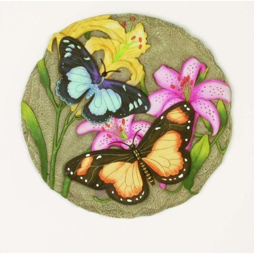 Set of 2 Two Butterfly Decorative Garden Stones - Multi-Color (Multi-Color - Resin)