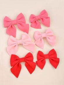 6pcs Parent-toddler Girls Bow Decor Hair Clip