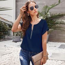 Blusas Cremallera Liso Azul Marino Casual