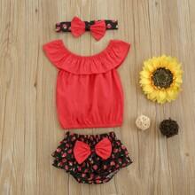Top mit Falten & Shorts mit Schleife vorn und Erdbeere Muster & Kopfband