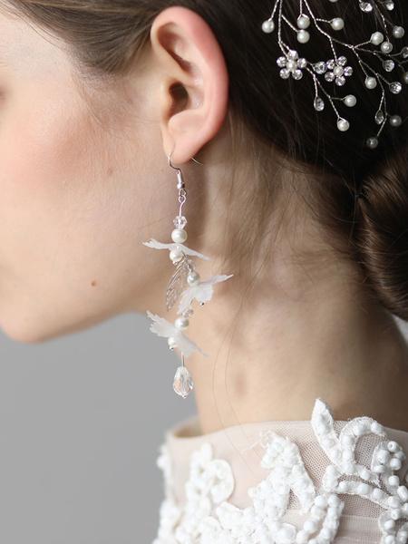 Milanoo Wedding Earrings Silver Pearls Flower Bridal Jewelry