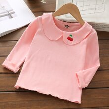 Toddler Girls Cherry Embroidery Peter Pan Collar Lettuce Trim Tee