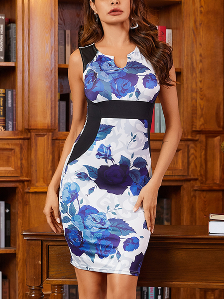 Yoins White Cut Out Floral Notch Collar Sleeveless Tight Waist DRESSES