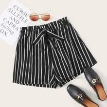 Shorts mit Streifen, Band vorn und Papiertasche Taille