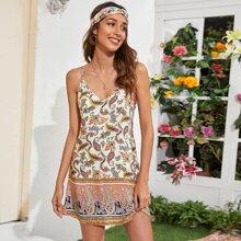 Slip Kleid mit V Kragen und Paisley Muster