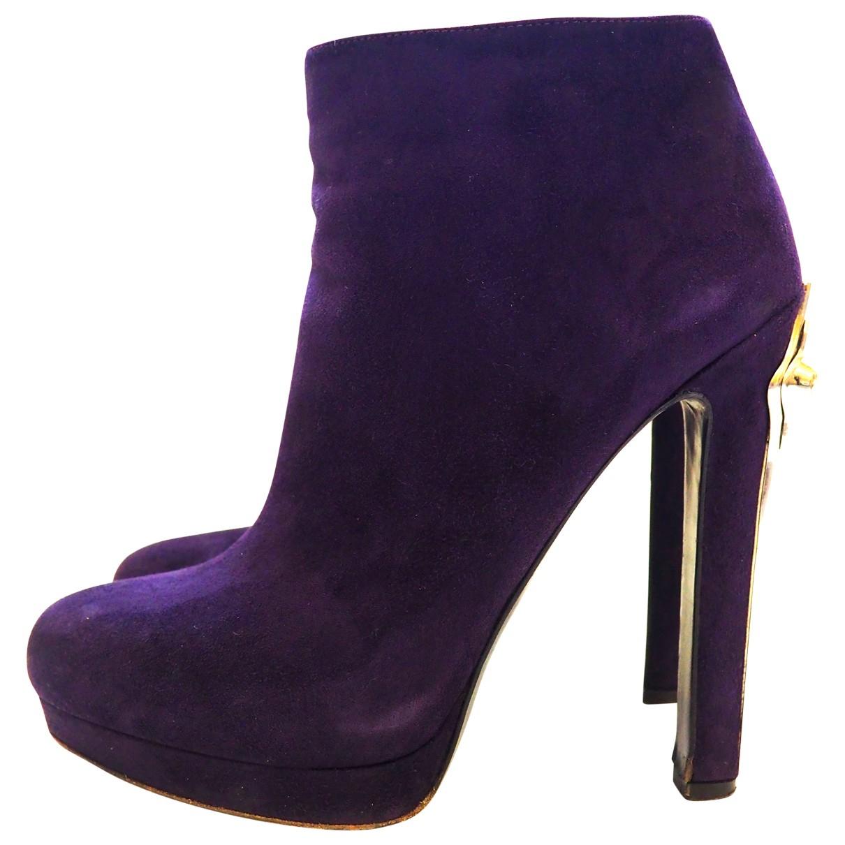 Alexander Mcqueen - Boots   pour femme en suede - violet