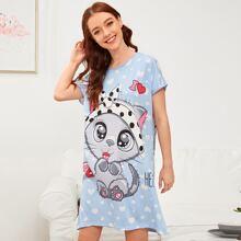 Cartoon Cat Print Night Dress