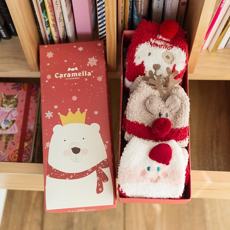 Red Cute Christmas Slipper Socks for Women