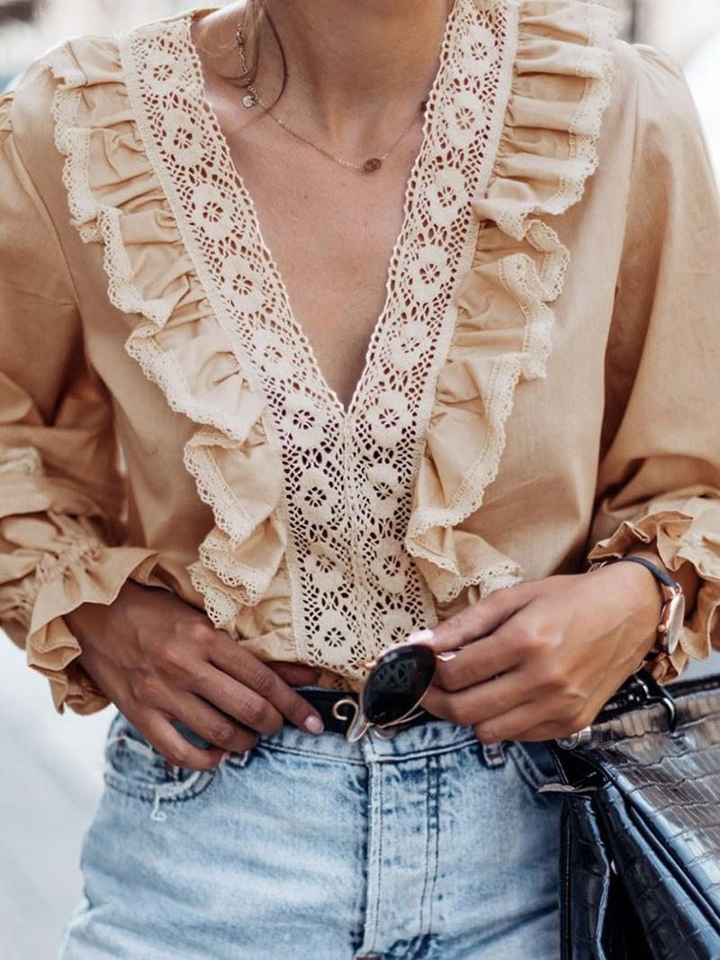 Ericdress Regular V-Neck Plain Long Sleeve Standard Blouse