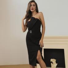 Lucra Tube Kleid mit Falten, Schnalle, Guertel und Schlitz