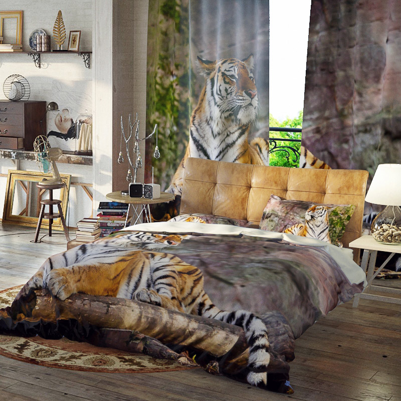 Lying Tiger Three-Piece Set Reactive Printing Duvet Cover Set Polyester Bedding Sets