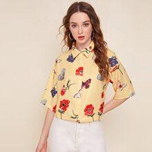 Drop Shoulder Floral & Butterfly Print Blouse
