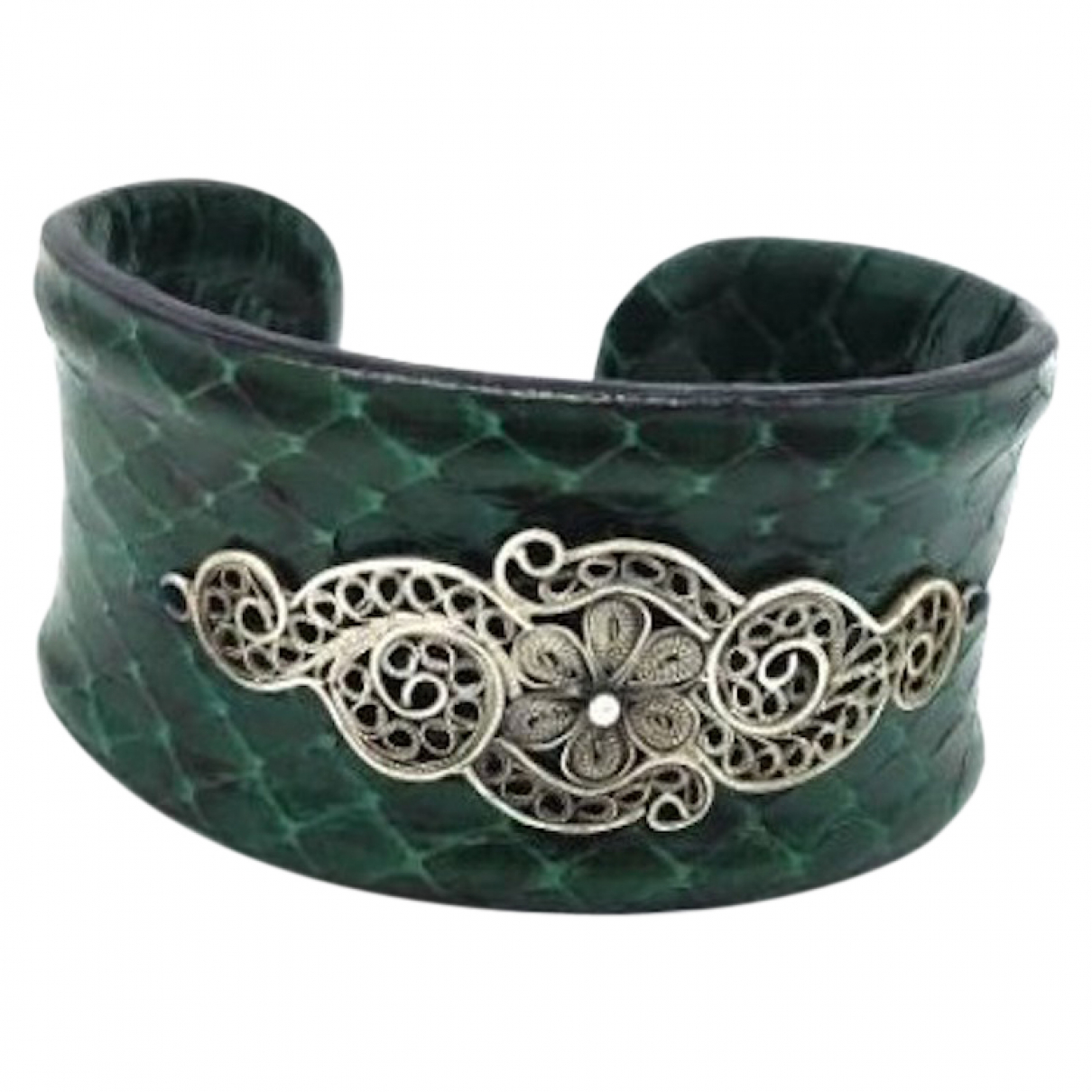 Yvone Christa - Bracelet   pour femme en python - vert