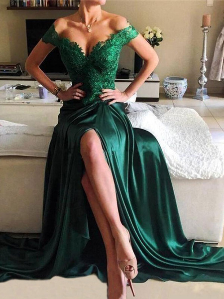 Milanoo Evening Dress A Line V Neck Elastic Woven Satin Floor Length Split Front Social Party Dresses