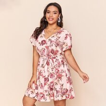 Kleid mit V-Kragen, Selbstband und Blumen Muster