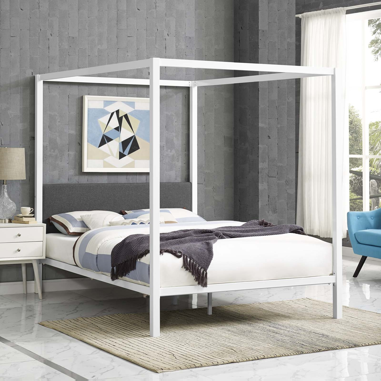 Raina Queen Canopy Bed Frame in White Gray
