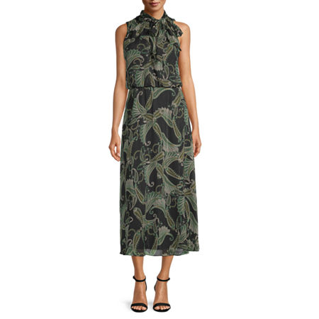 London Style Sleeveless Paisley Fit & Flare Dress, 12 , Green