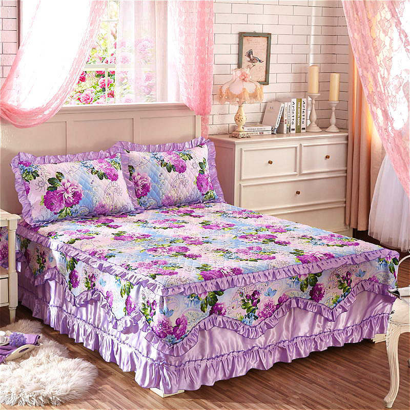 Quilting process Cotton Bed Skirt Country Style Purple Flower Corrugated Edge Bed Skirts