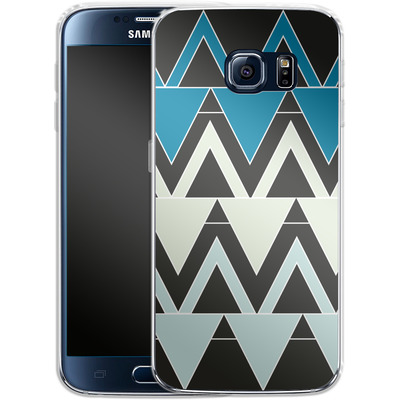 Samsung Galaxy S6 Silikon Handyhuelle - Blue Triangles von caseable Designs