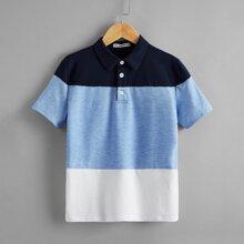 Jungen Polo Shirt mit Farbblock und Knopfen