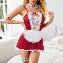 7pack Floral Lace Mesh Maid Costume Set