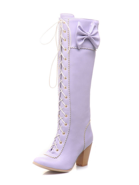Milanoo Knee High Boots Womens PU Lace Up Bows Pointed Toe Chunky Heel Vintage Boots