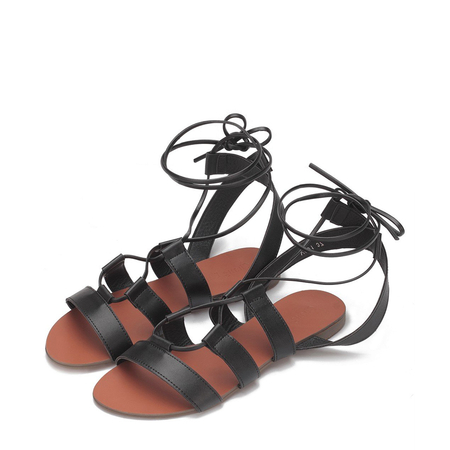 Yoins Black Leather Look Crossed Strap Lace-up Flat Sandal
