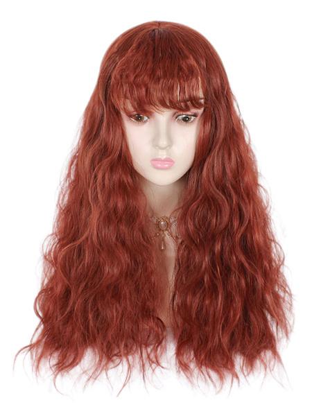 Milanoo Sweet Lolita Wigs Burgundy Big Curve Fiber Lolita Accessories