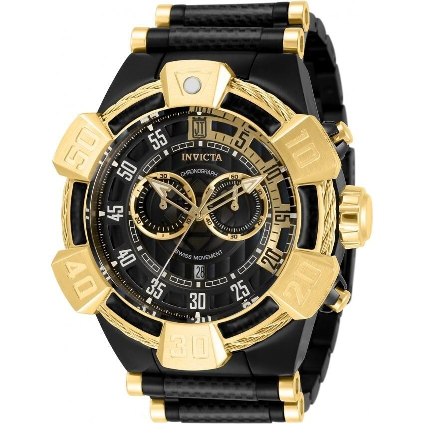 Invicta Mens 32831 Jason Taylor Black and Gold-Tone Polyurethane and Stainless Steel Watch (Black)