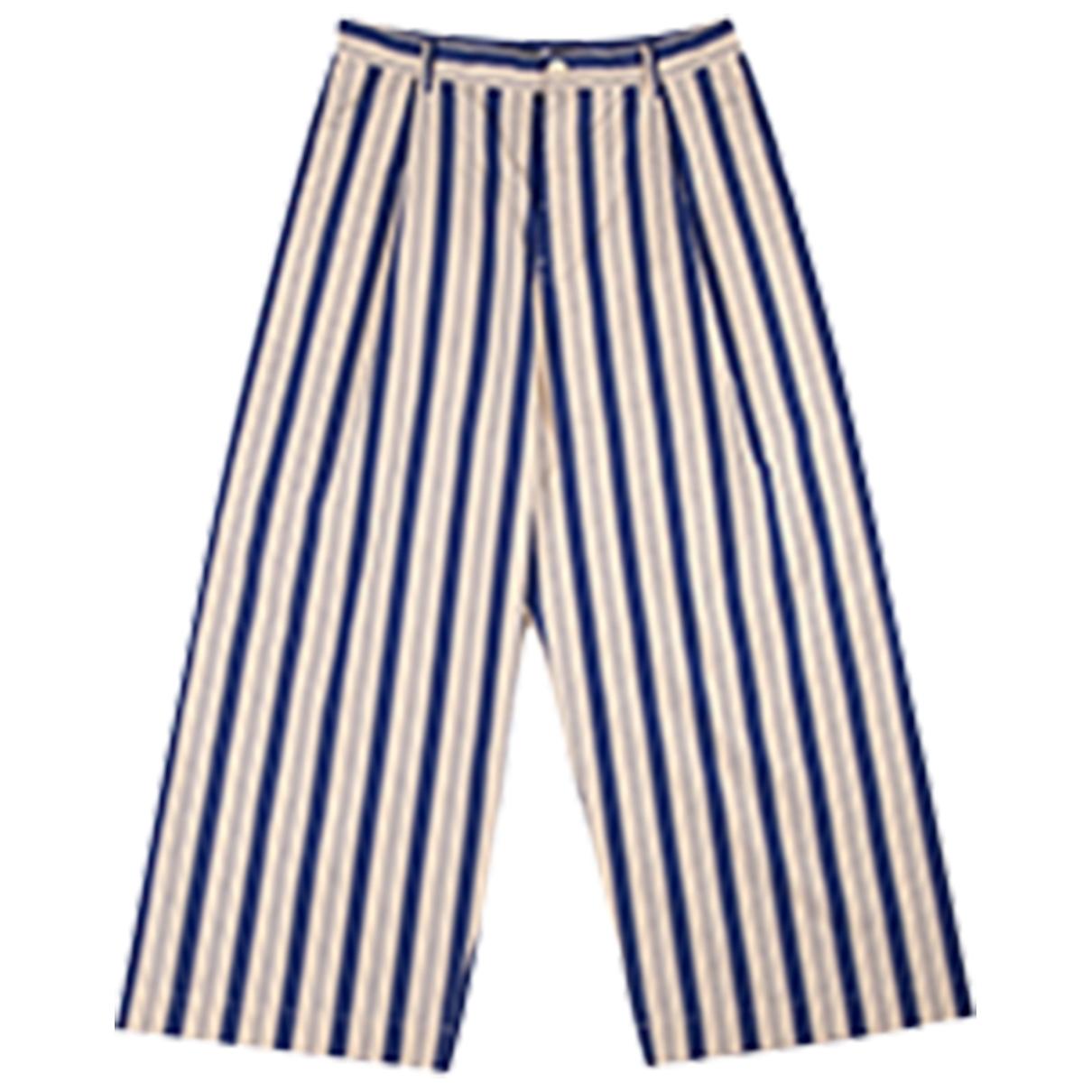 Sofie D'hoore \N Blue Cotton Trousers for Women 40 FR