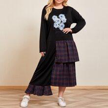 T-Shirt Kleid mit Blumen Muster und asymmetrischem Saum