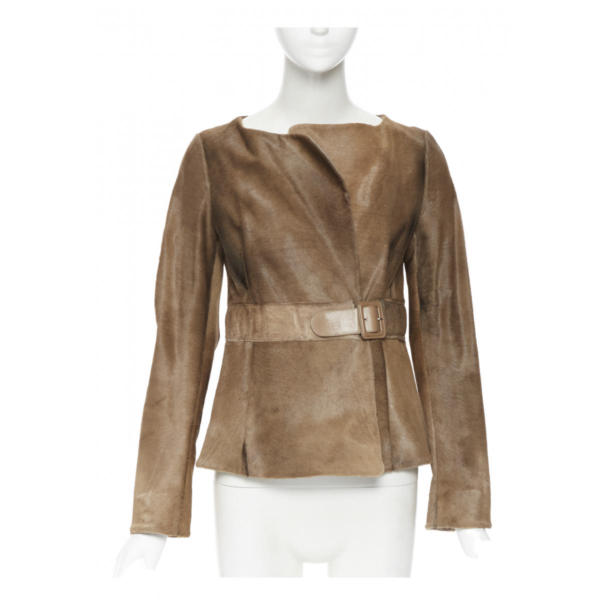 Marni - Veste   pour femme en cuir - marron