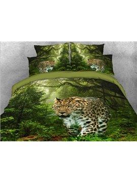 Vivilinen 3D Leopard Walking in the Forest Printed 4-Piece Bedding Sets/Duvet Covers