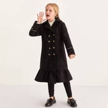 Girls Notch Collar Ruffle Hem Pea Coat