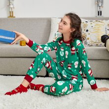 Conjunto de pijama top con estampado de Papa Noel y muñeca de nieve con pantalones
