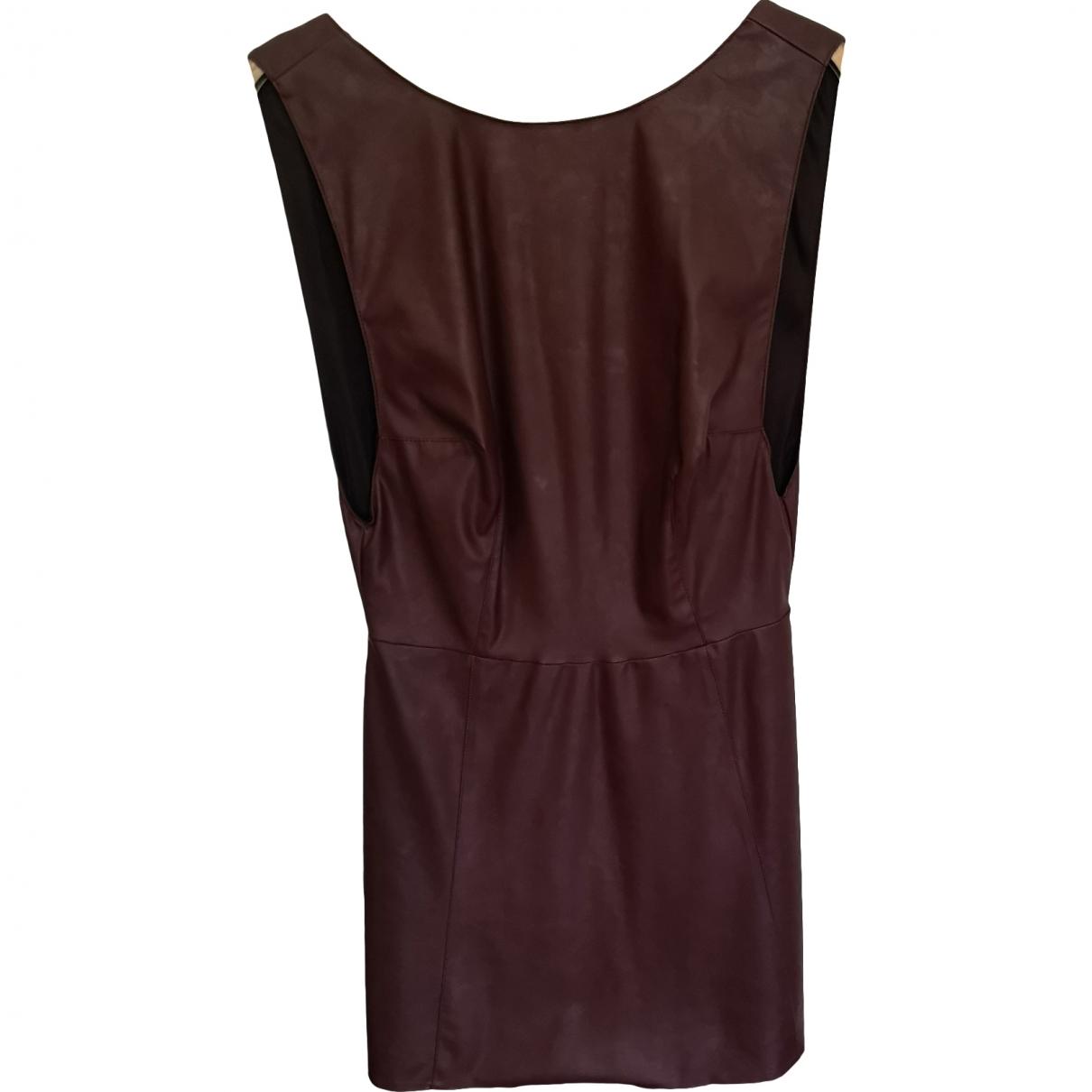 Non Signe / Unsigned \N Kleid in  Bordeauxrot Leder