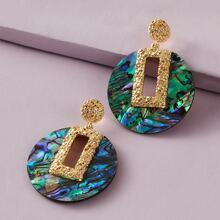 Texturierte runde Ohrringe mit geometrischem Dekor 1 Paar